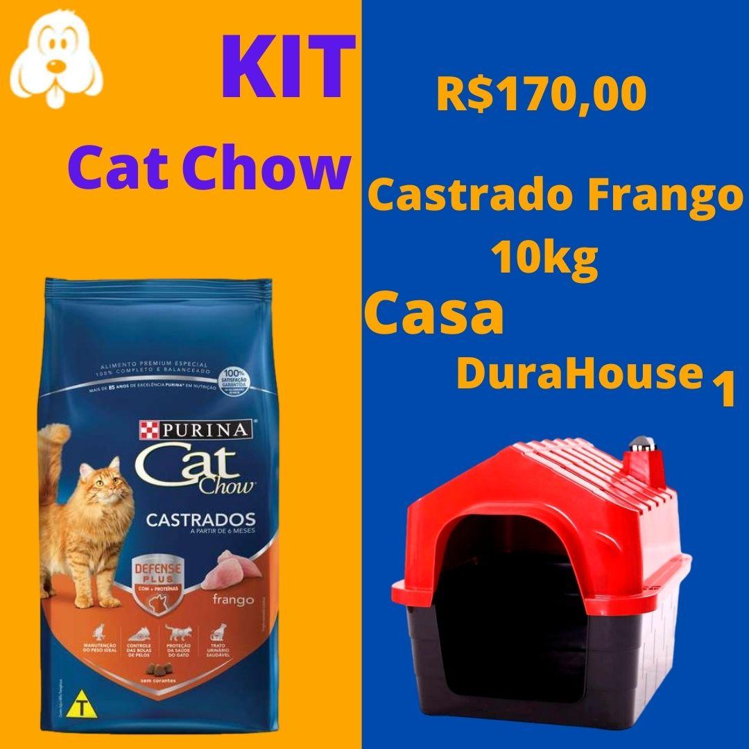 Kit Cat Chow Gatos Castrados Frango 10kg + Casa DuraHouse - n 1