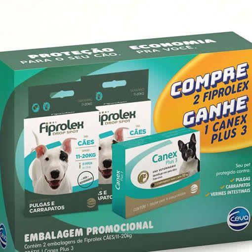 Kit Fiprolex Cães 10kg até 20 + Canex Plus 3