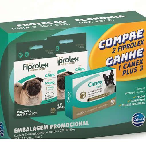 Kit Fiprolex Cães até 10kg + Canex Plus 3