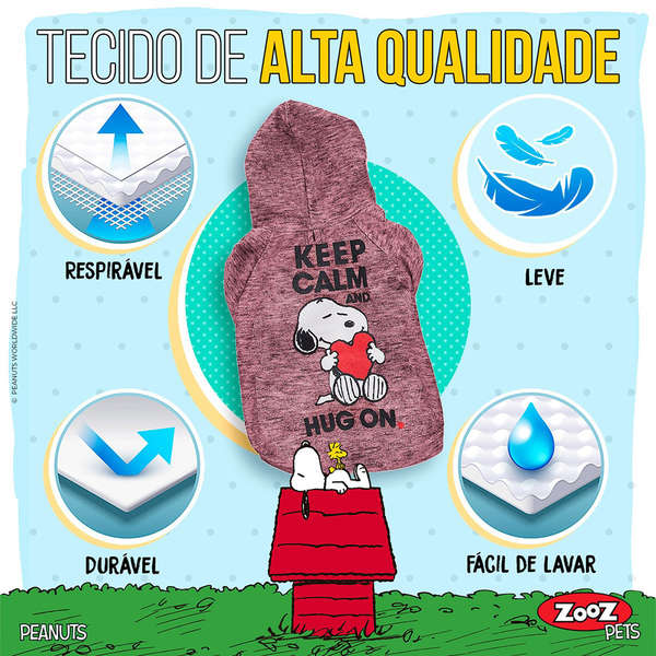 Moletom SnoopY Keep Calm Hug On Vinho - Zooz