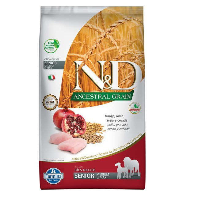 N&D Ancestral Cães Raças Medium Senior Frango e Romã