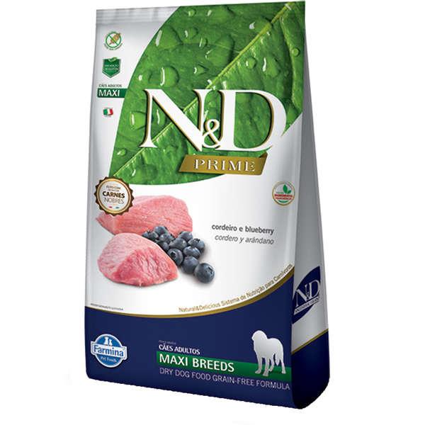 N&D Prime Cães Raças Grandes Adultos  Cordeiro e Blueberry