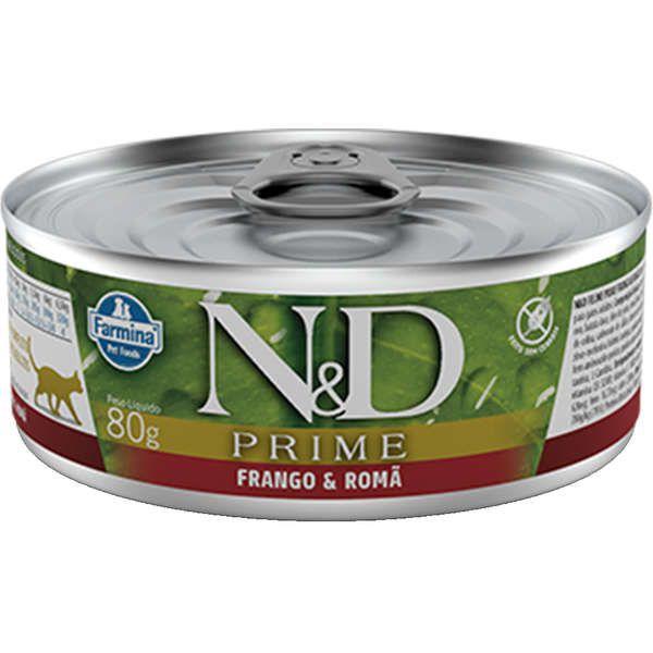 N&D Lata Prime  Frango & Romã para Gatos Adultos -80g