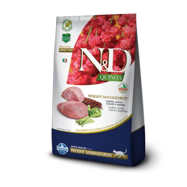 N&D Quinoa Gatos Adultos Weight Cordeiro