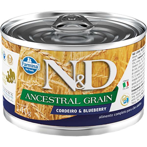 N&D Ração Úmida Ancestral Grain Cordeiro & Blueberry Cães 140g - Farmina