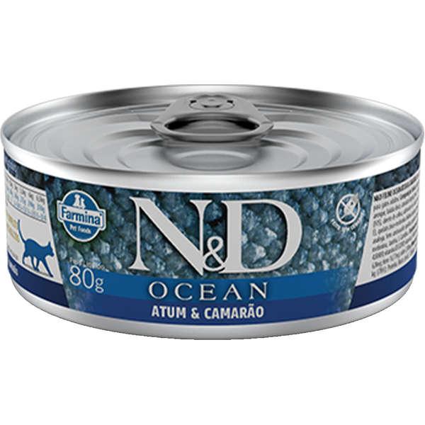 N&D Ração Umida Lata Ocean Atum & Camarão Gatos Adultos 80G