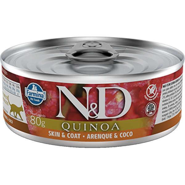 N&D Ração Umida Lata Quinoa Skin & Coat Arenque & Coco Gatos Adultos 80G
