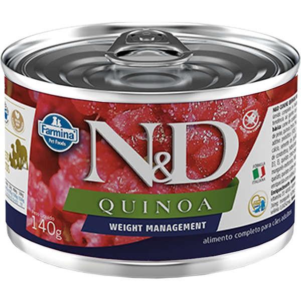 N&D Ração Úmida Lata Quinoa Weight Management Cães Adultos 140g