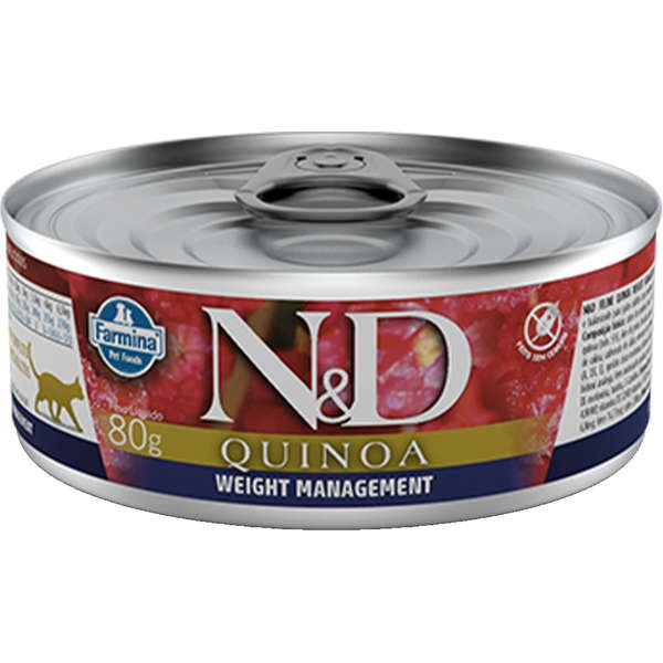 N&D Ração Umida Lata Quinoa Weight Management  Gatos Adultos 80g