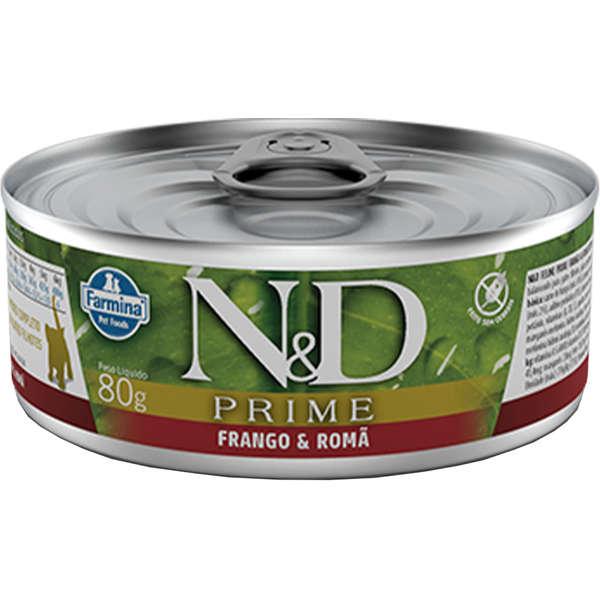 N&D Ração Umida Lata Prime Grain Frango & Romã para Gatos Adultos 80g