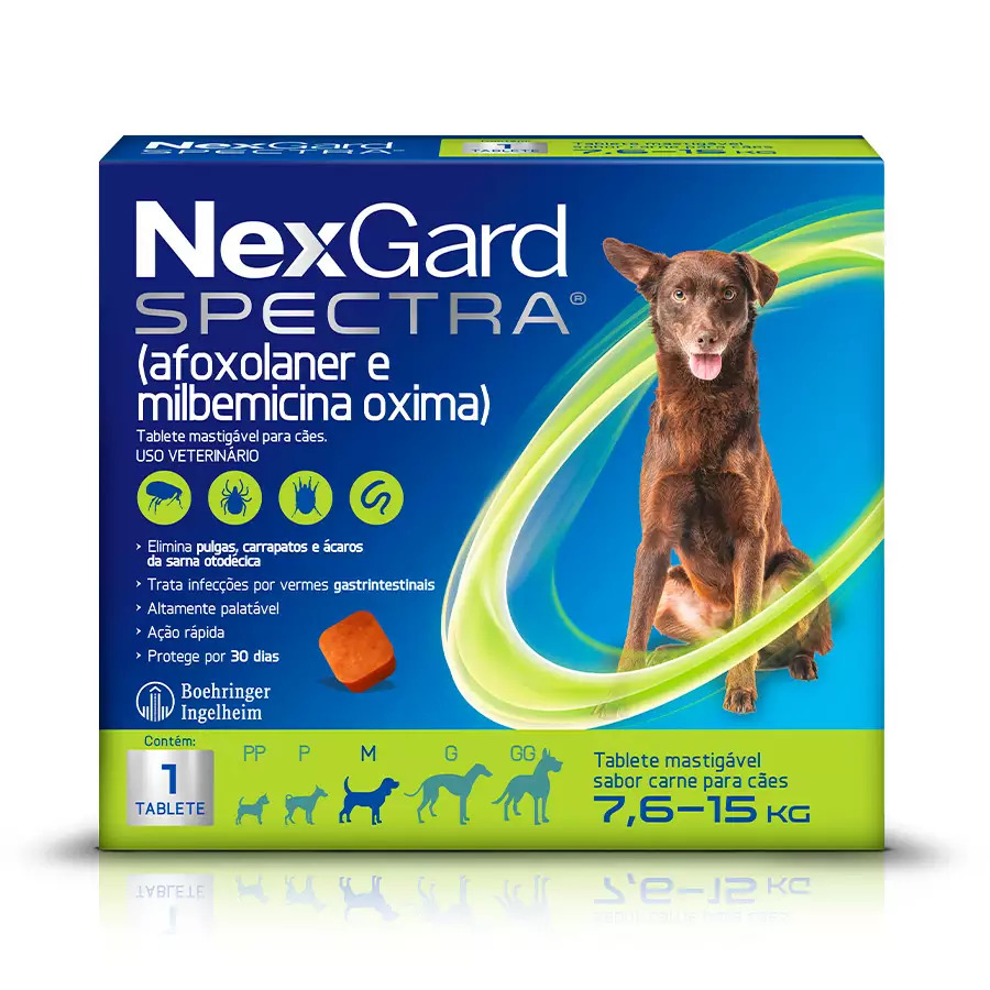 NexGard Spectra Anti Pulgas e Carrapatos Cães de 7,6kg a 15kg