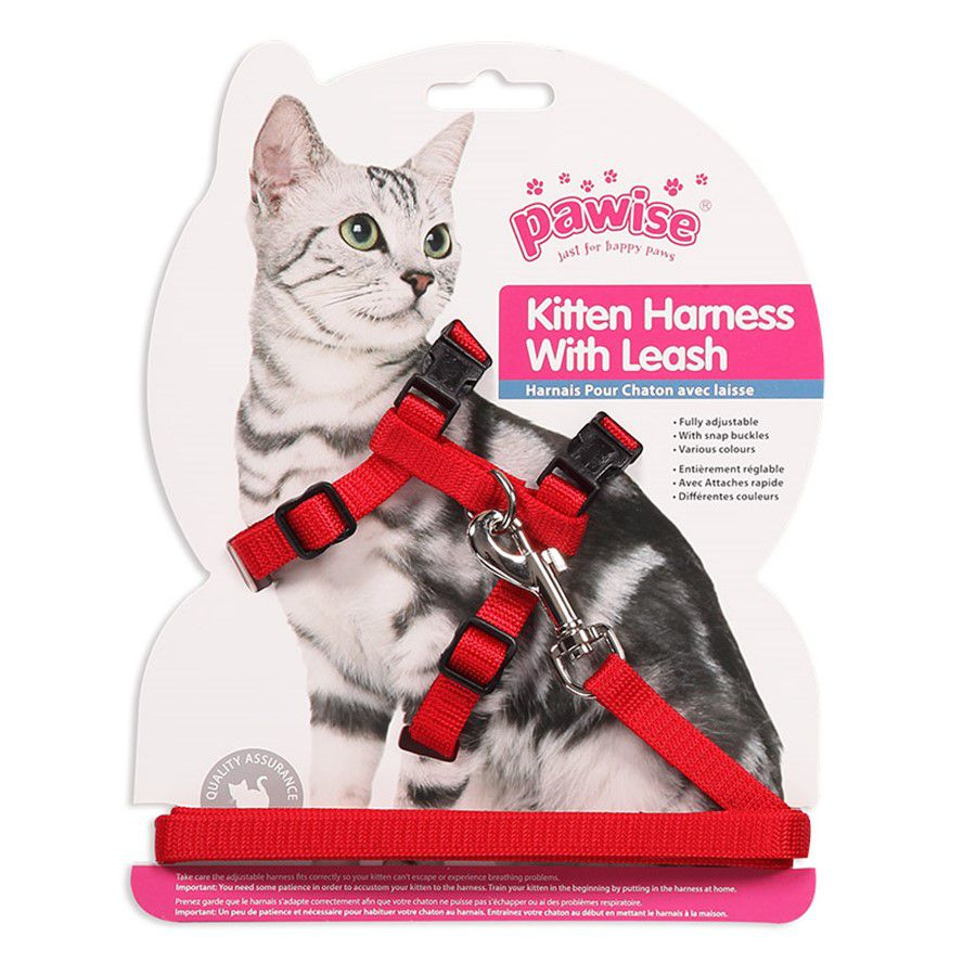 Peitoral para Gatos Kitten Harness With Leash Pawise