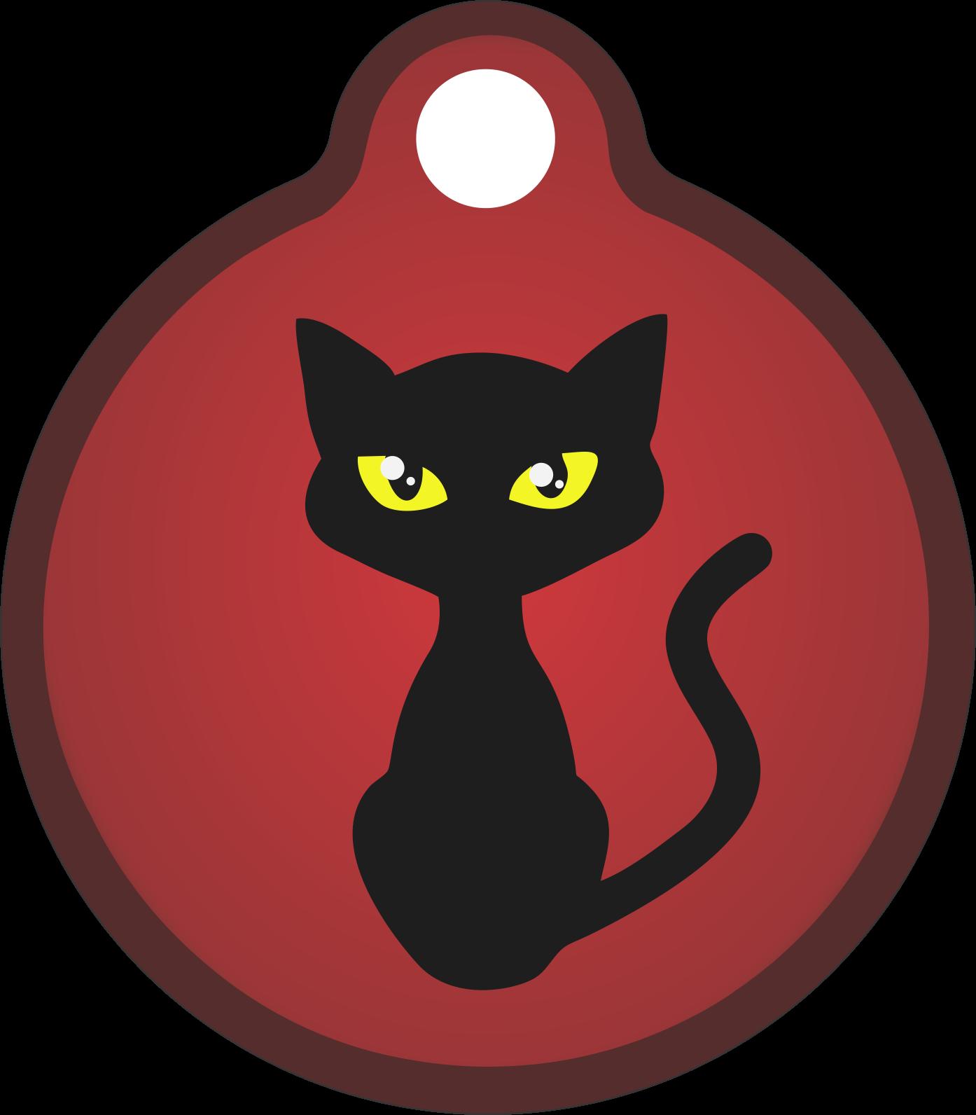 Placa de Identificação com Gravação Gato Preto P121213