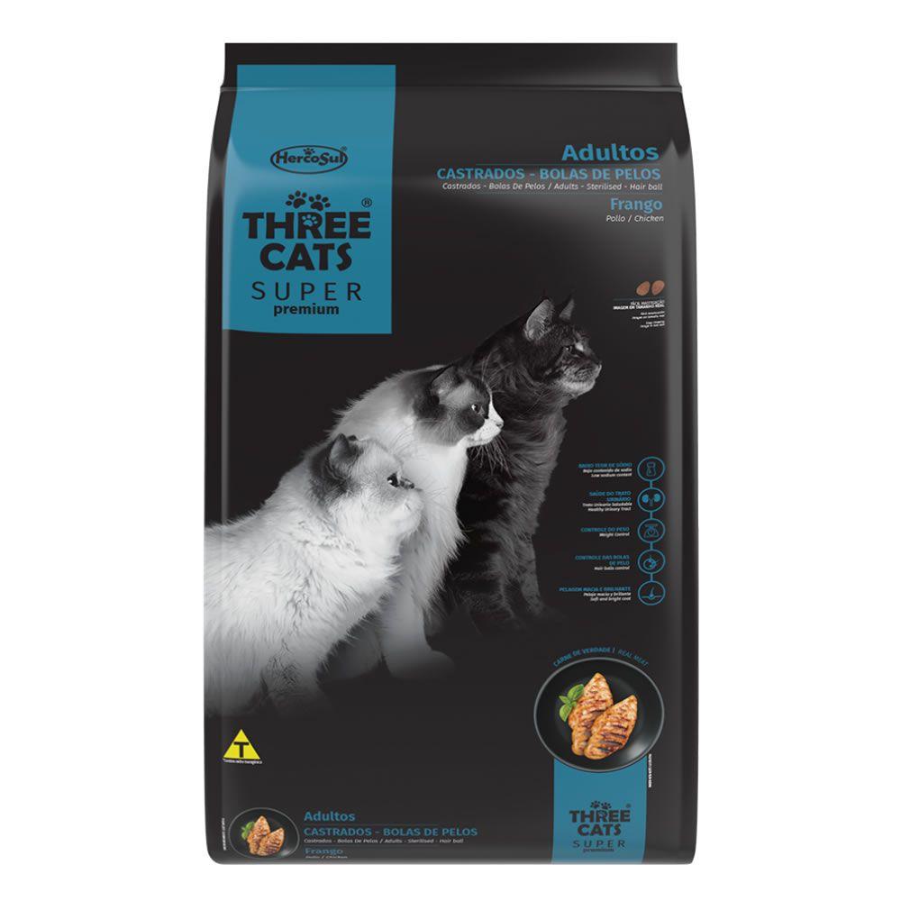 Three Cats Adultos Castrados Bolas de Pelos Frango