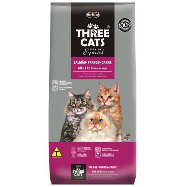 Three Cats Adultos Salmão com Frango e Carne