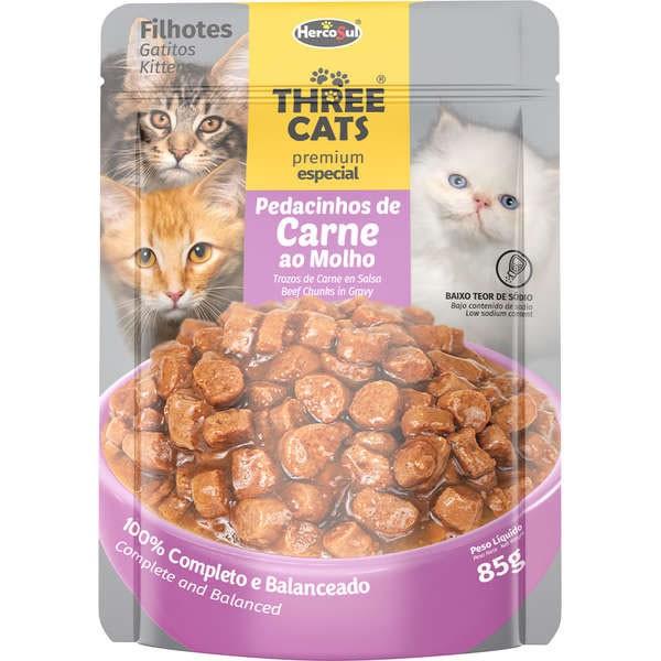 Three Cats Sachê Premium Especial Carne ao Molho Gatos Filhotes 85g