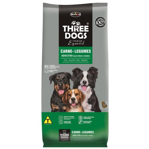 Three Dogs Raças Médias e Grandes Adultos Carne e Legumes