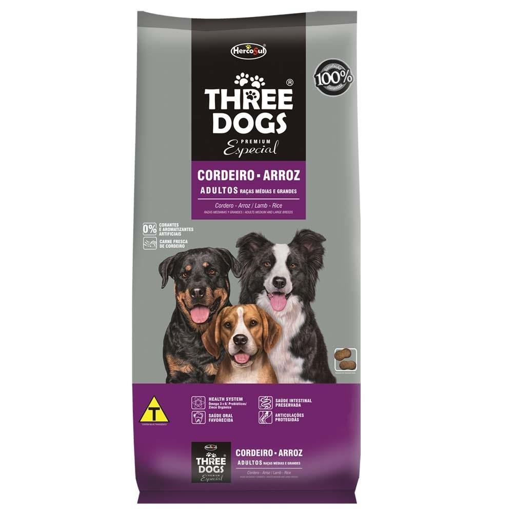 Three Dogs Raças Médias e Grandes Adultos Cordeiro e Arroz