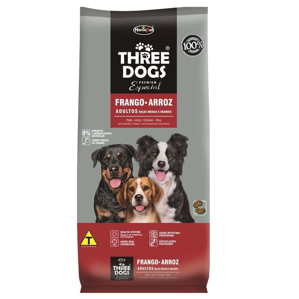 Three Dogs Raças Médias e Grandes Adultos Frango e Arroz
