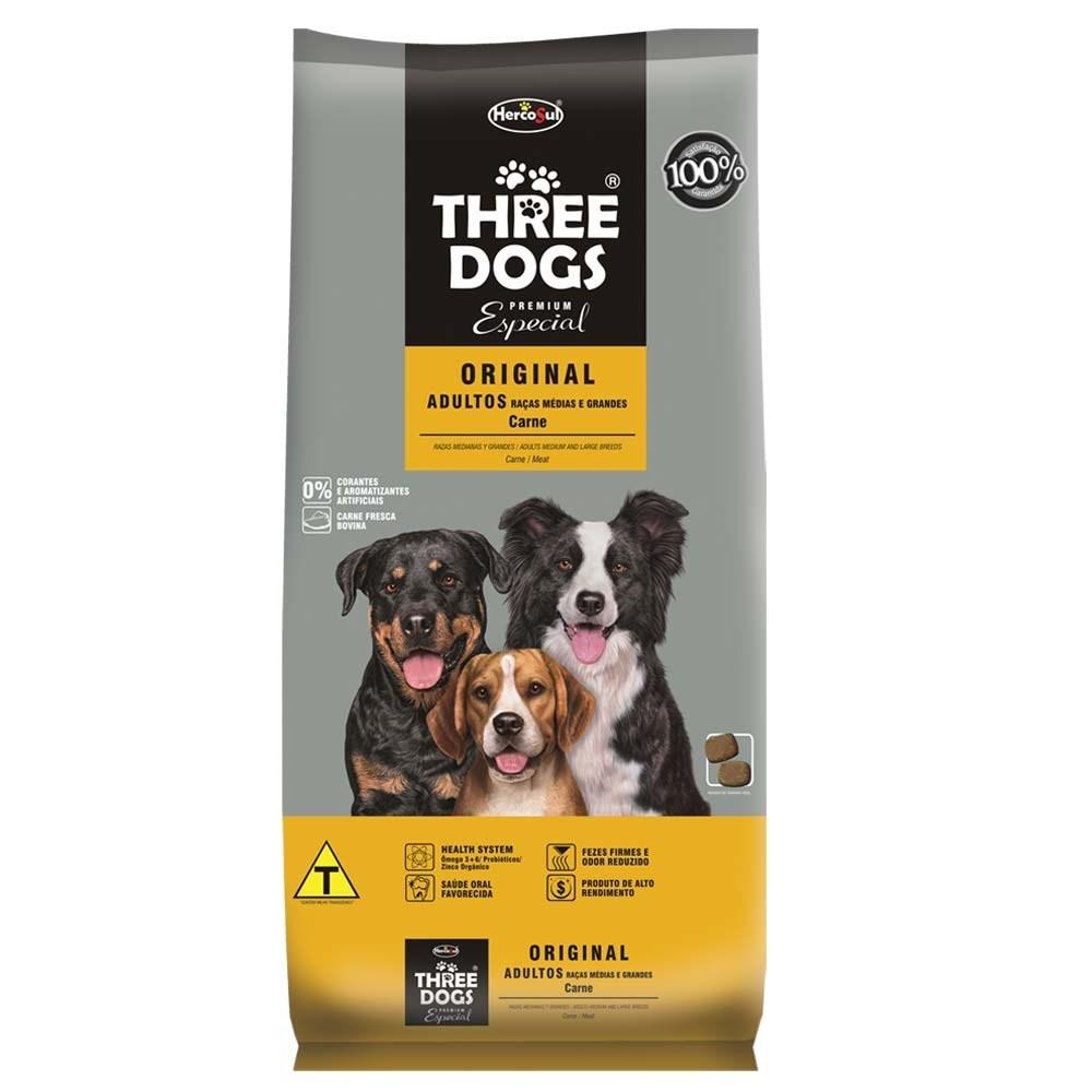 Three Dogs Raças Médias e Grandes Adultos Original Carne