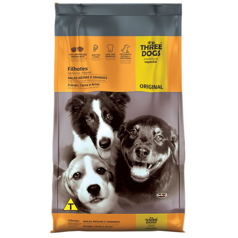 Three Dogs Original Raças Médias e Grandes FIlhote Frango com Carne e Arroz
