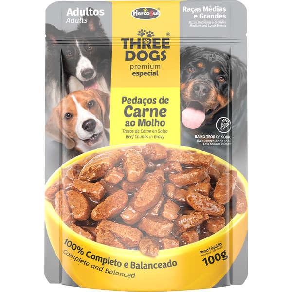 Three Dogs Sachê Premium Especial Pedaços de Carne ao Molho Adultos Porte Médio e Grande