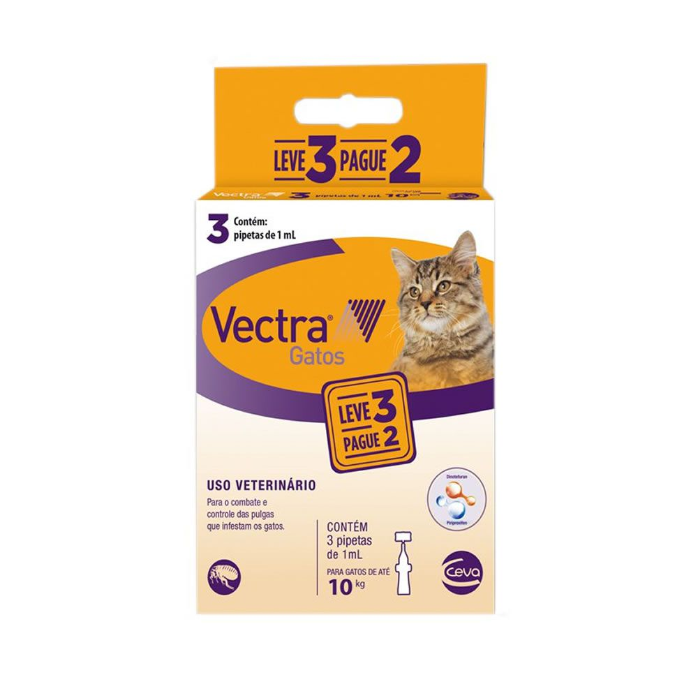Combo Vectra Gatos 3x1mL (até 10kg)