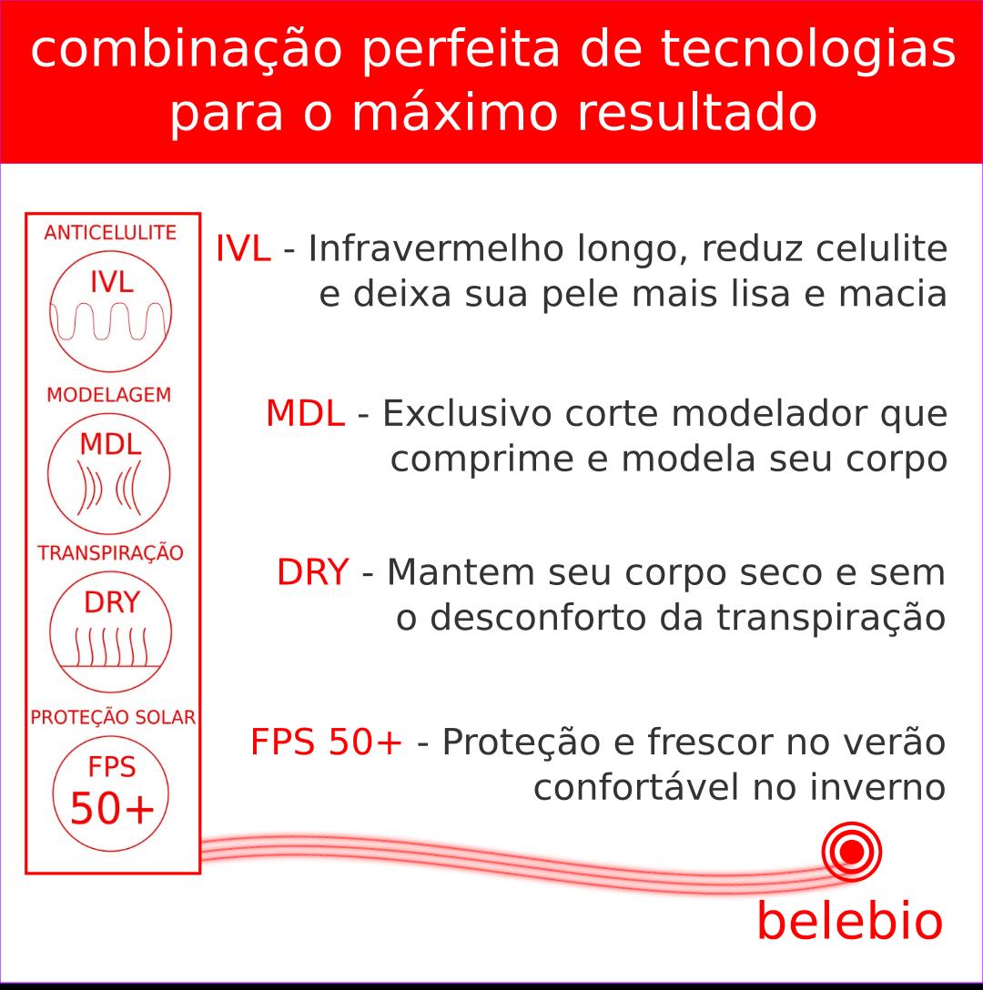 Legging anticelulite modeladora fusô com minerais bioativos e infravermelho longo| belebio