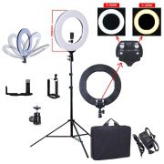 KIT ILUMINADOR LED RING LIGHT 60W BICOLOR COM TRIPÉ