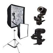 Kit Iluminador P/ Lâmpada E-27 E Sombrinha Softbox 60x60