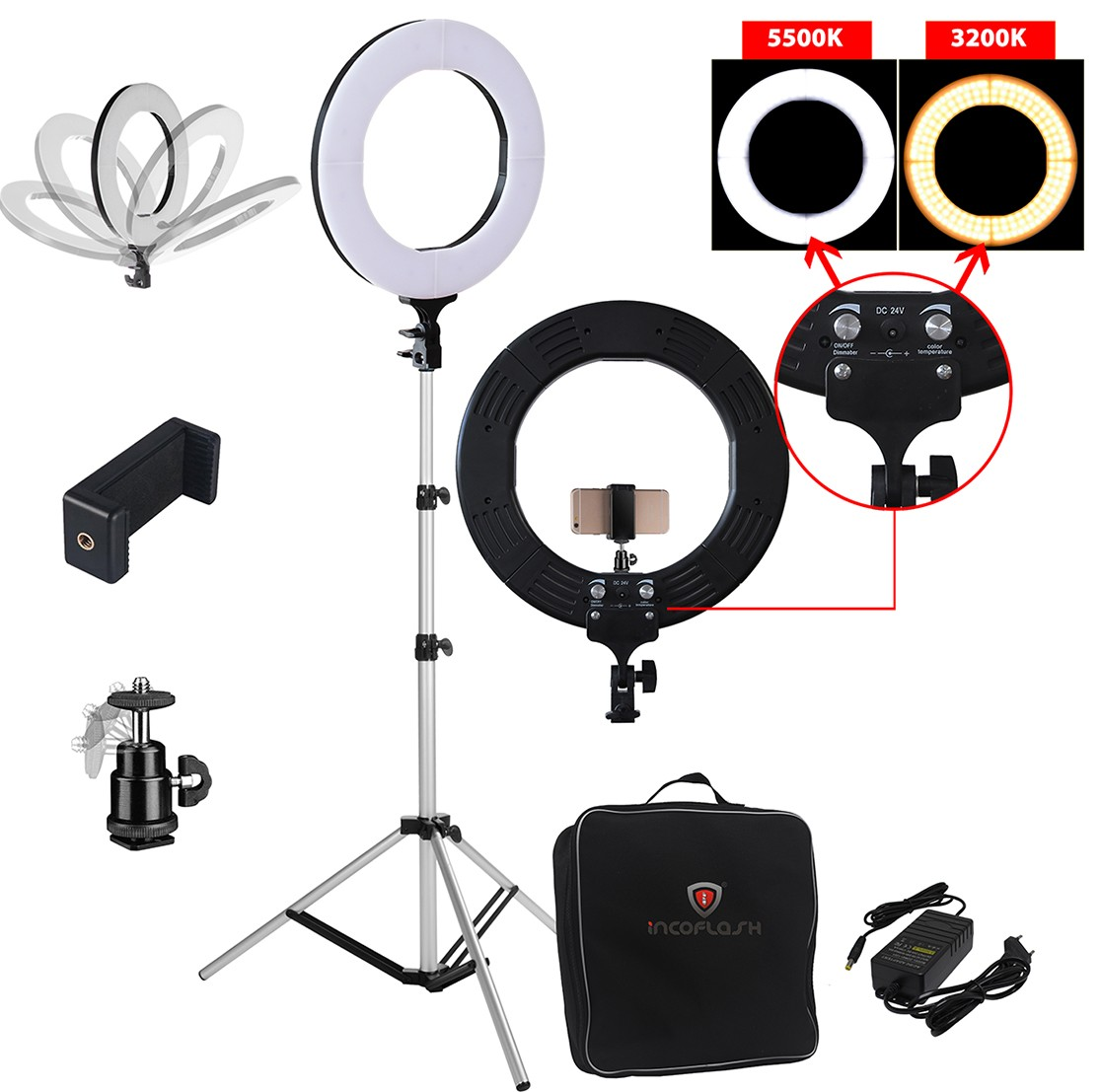KIT ILUMINADOR LED RING LIGHT 60W BICOLOR PROFISSIOONAL COM TRIPÉ