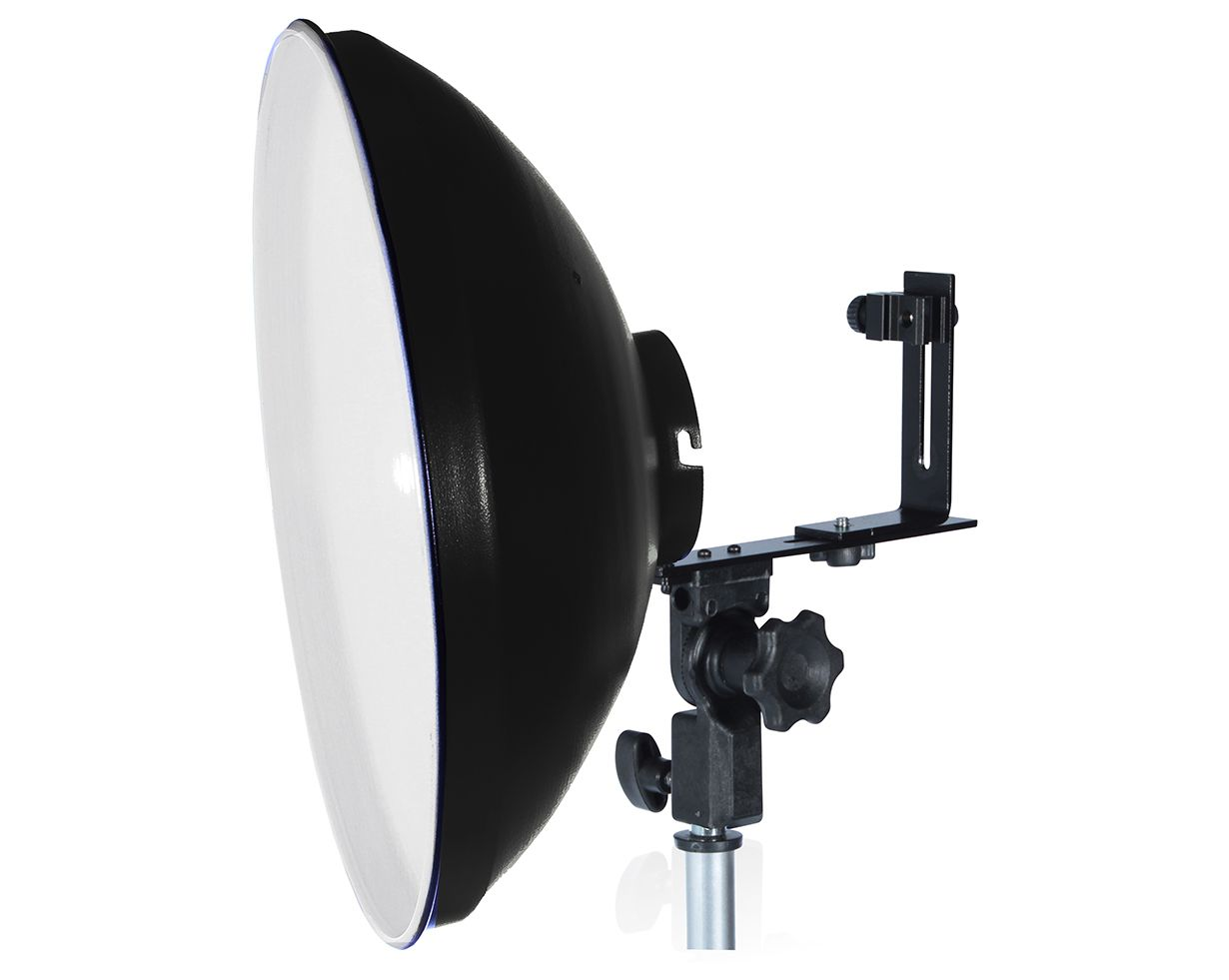 KIT REFLETOR BEAUTY DISH COM SUPORTE PARA FLASH SPEEDLIGHT