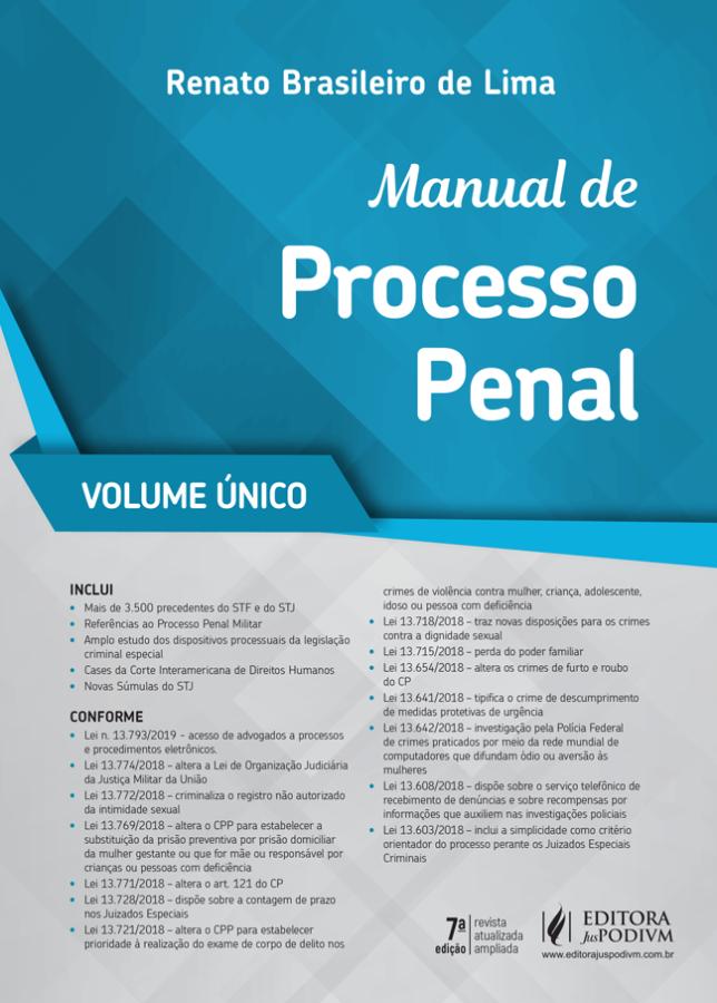 Manual de Processo Penal - Vol. Único 2019