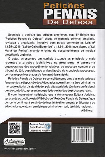 Petições Penais de Defesa 5ª edição - Maeterlin Camarço Lima - Anhanguera