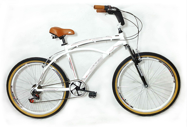 Bicicleta Beach Caiçara Praiana Retrô De Alumínio Raio Inox C/ Suspensão