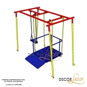 Playground Adaptado Balanço Americano Duplo Cadeirante