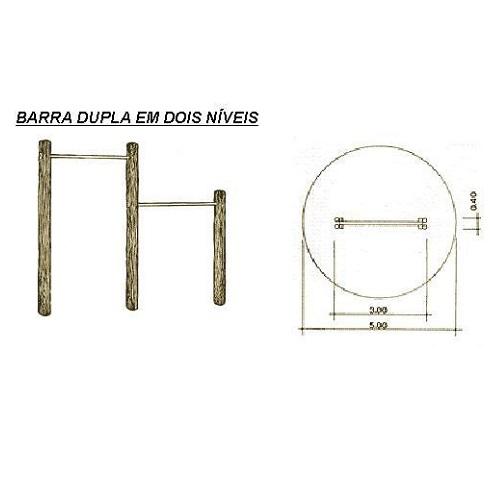 Barra Dupla Dois Niveis de Tronco  - Natumóveis