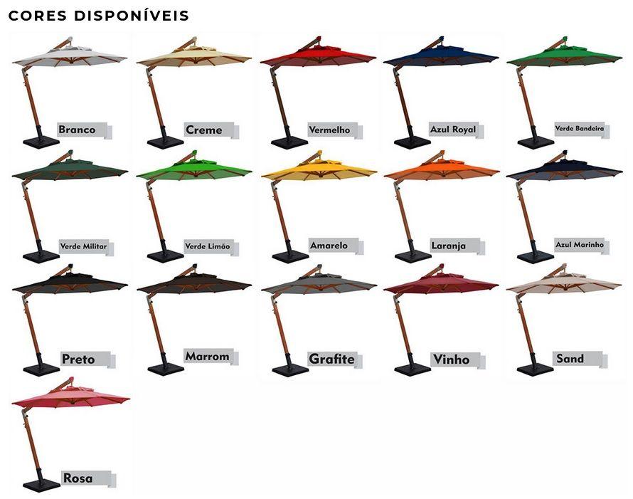 OMBRELONE LATERAL SLIM FIXO COM BASE DE CONCRETO  2,10 M X 2,40 M X  2,90 M   - Natumóveis