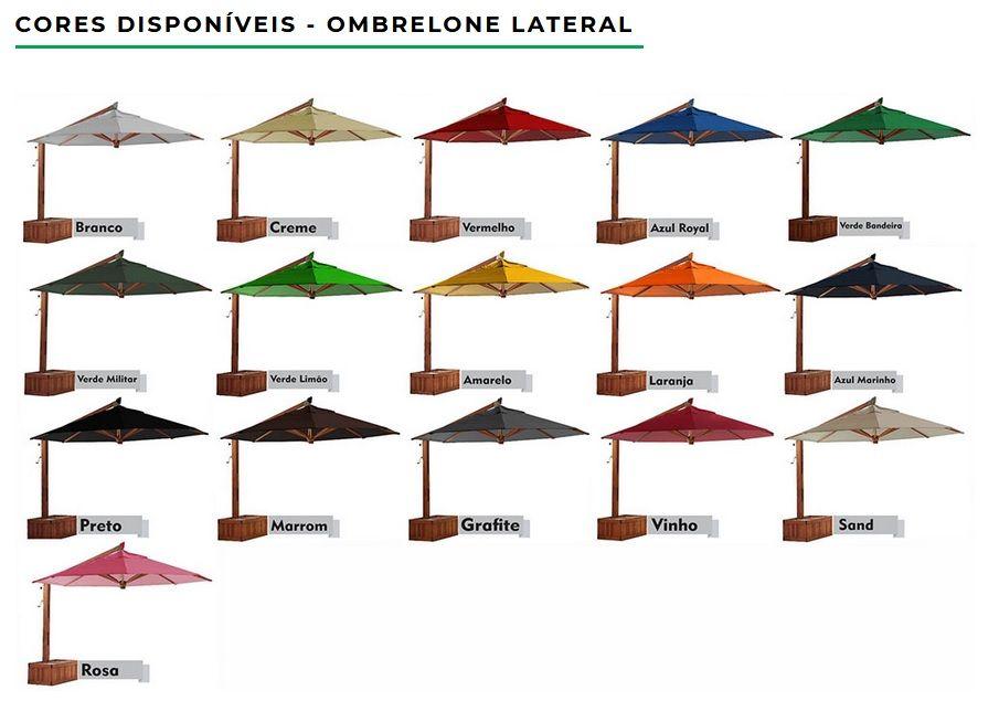 Ombrelone Premium Lateral Giratorio Quadrado com Floreira 2,50 x 2,50m  - Natumóveis Decorlazer