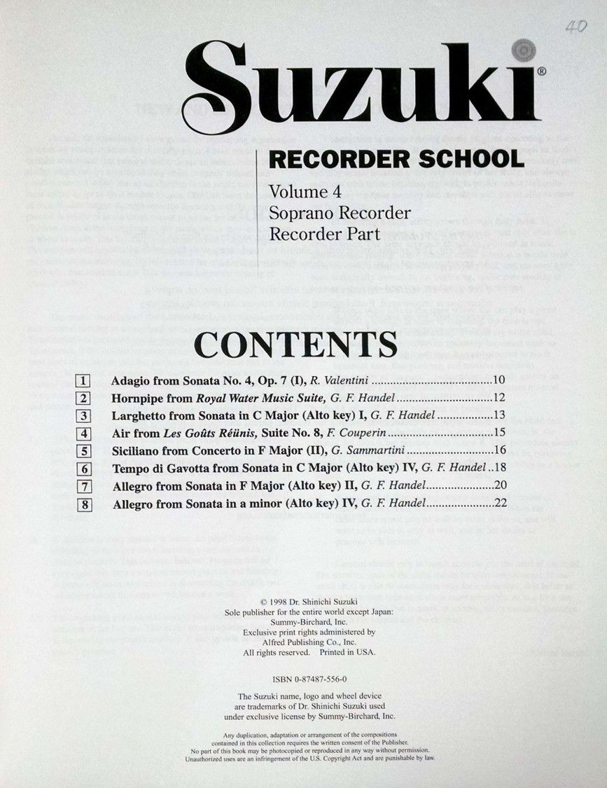 Suzuki Recorder School Recorder Part, Volume 4, Soprano (Revised)