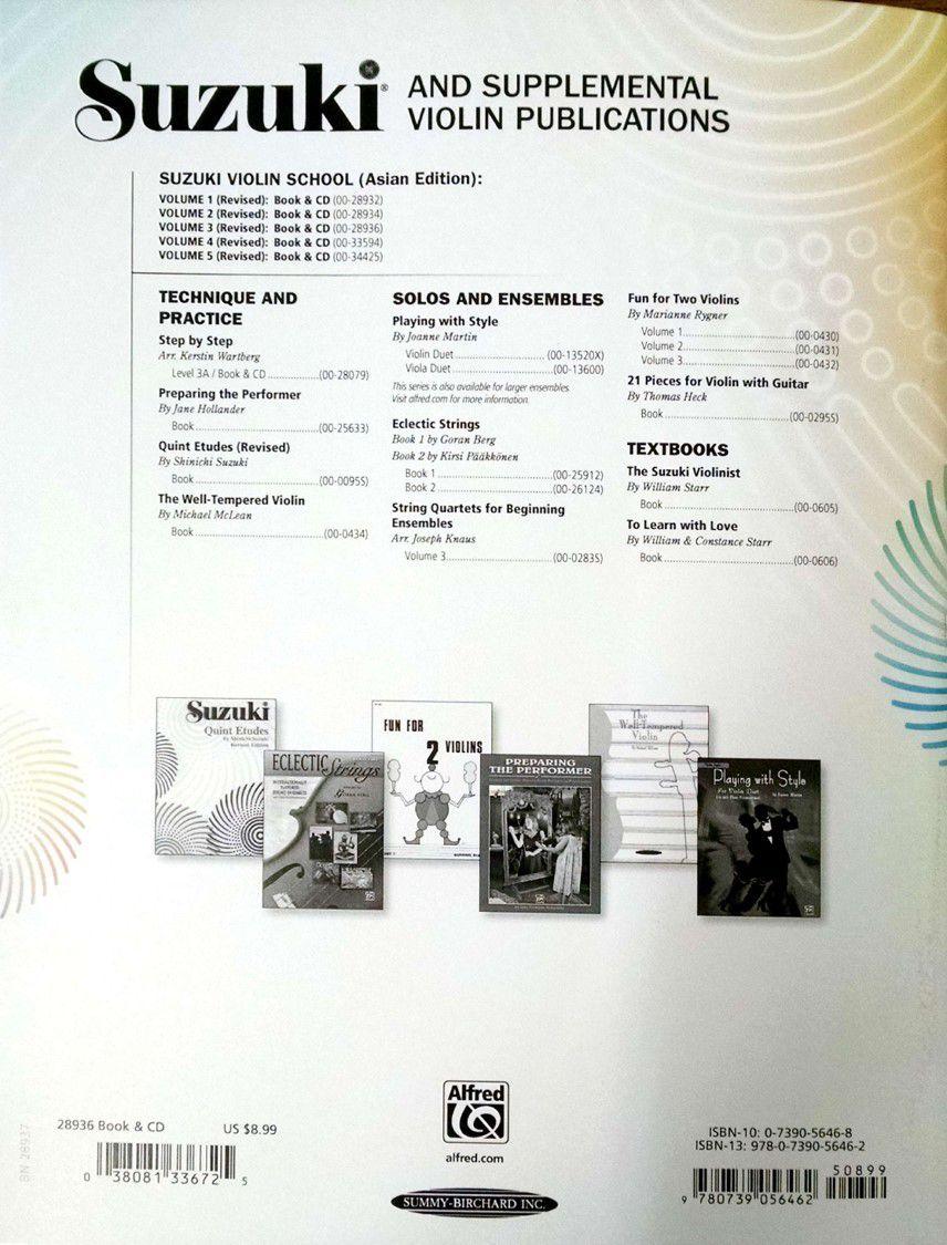 Suzuki Violin School Method Book and CD, Volume 3 (Asian Edition) (Revised)