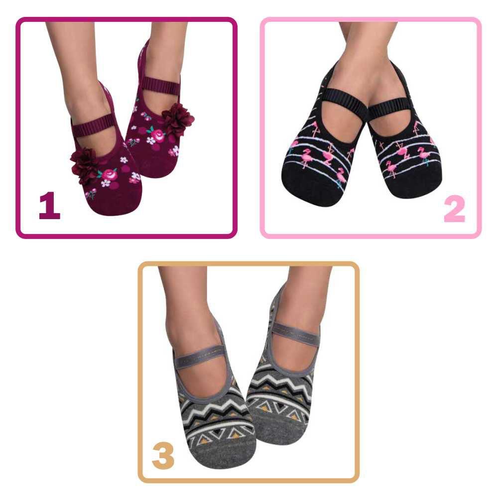 cb62d1b3367168 Meia Sapatilha Feminina Puket Kit Com 3 - Pé Tuquinho Calçados e ...