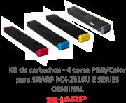 KIT COM 4 CORES - CARTUCHOS ORIGINAIS SHARP - PARA USO EM MX2310U (MX23NTBA) E SERIES - MX23BTBA, MX23BTMA, MX23BTYA, MX23BTCA