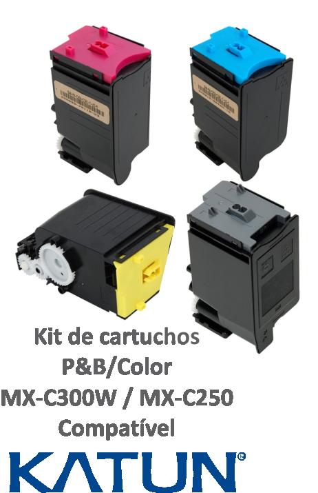 KIT COM 4 CORES - CARTUCHOS COMPATÍVEIS  KATUN PARA USO EM SHARP PARA MXC300W / MXC301 E SERIES -  MXC30NTC, MXC30NTM, MXC30NTY, MXC30NTB