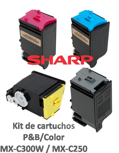 KIT COM 4 CORES - CARTUCHOS ORIGINAIS PARA USO EM SHARP PARA MXC300W / MXC301 E SERIES - MXC30NTC, MXC30NTM, MXC30NTY, MXC30NTB