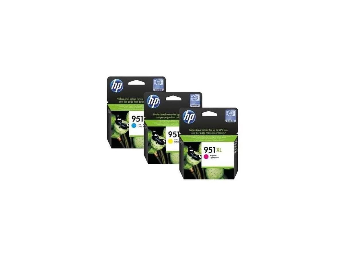 KIT COM 3 CORES CARTUCHOS 951XL ORIGINAL PARA HP 8100 / 8600 E SERIES
