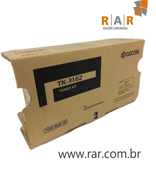 TK3182 (TK-3182) - CARTUCHO DE TONER ORIGINAL DO FABRICANTE PARA KYOCERA ECOSYS P3050DN