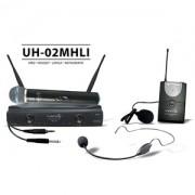 Microfone Lyco UH02 MHLI S/Fio Mão e Headset UHF