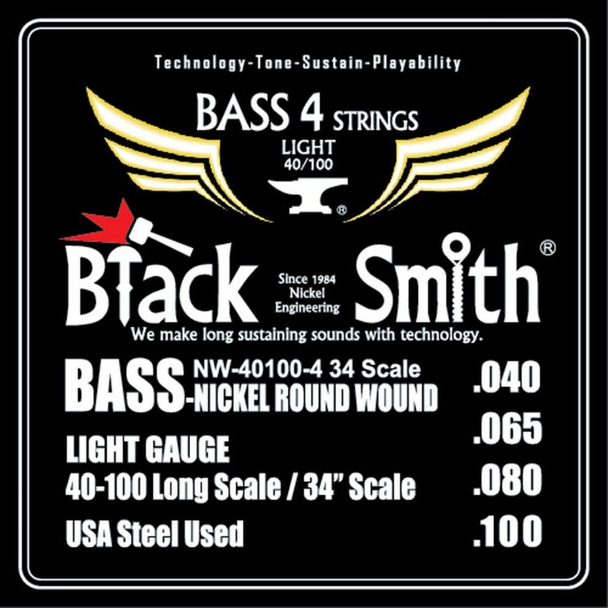 Encordoamento Baixo 0.40 4 cordas Black Smith