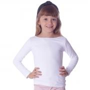 Blusa com Proteção UV Infantil Branca Manga Longa Decote Canoa